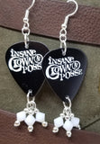 Insane Clown Posse Guitar Pick Earrings with White Swarovski Crystal Dangles