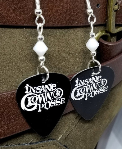 Insane Clown Posse Guitar Pick Earrings with White Swarovski Crystals
