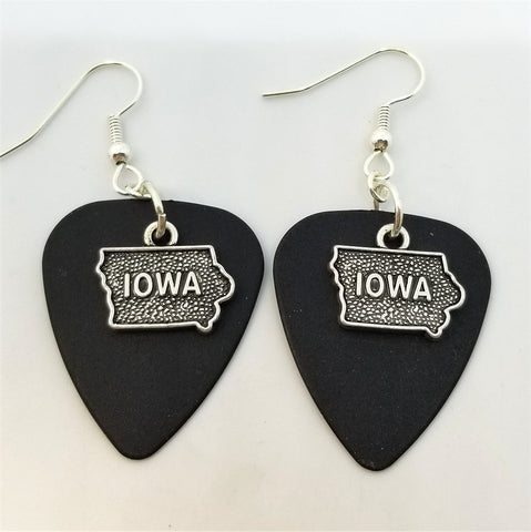 State of Iowa Charm Guitar Pick Earrings - Pick Your Color