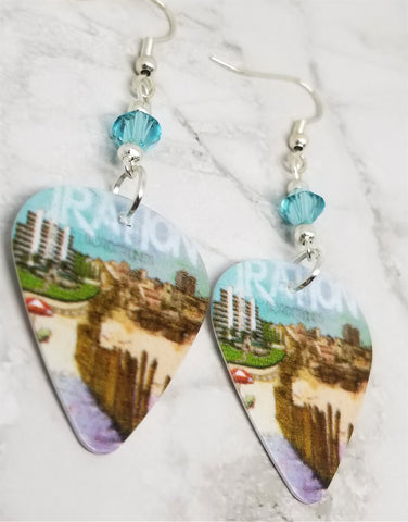 Iration Borderlines Guitar Pick Earrings with Aqua Blue Swarovski Crystals