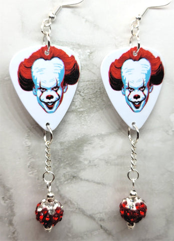 It Pennywise Guitar Pick Earrings with Red to White Ombre Pave Bead Dangles