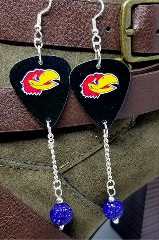 University of Kansas KU Jayhawks Guitar Pick Earrings with Blue Pave Bead Dangles