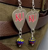 University of Kansas KU Jayhawks Guitar Pick Earrings with Red, Yellow and Blue Pave Bead Dangles