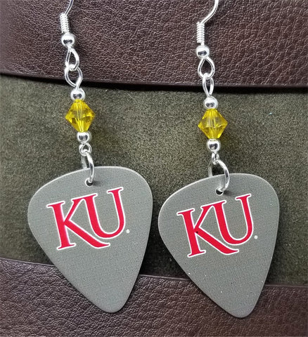 University of Kansas KU Jayhawks Guitar Pick Earrings with Yellow Swarovski Crystals
