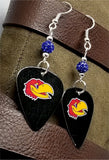 University of Kansas KU Jayhawks Guitar Pick Earrings with Blue Pave Beads