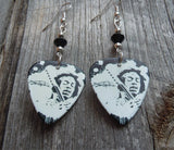 Black and White Jimi Hendrix Guitar Pick Earrings with Black Crystals