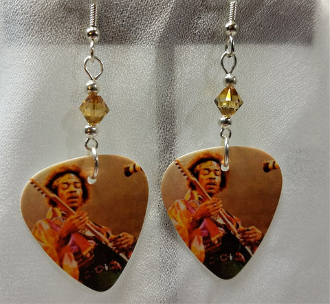 Jimi Hendrix Performing Guitar Pick Earrings with Copper Swarovski Crystals
