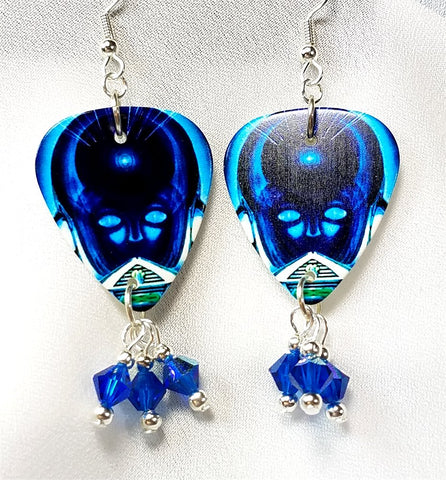 Journey Frontiers Guitar Pick Earrings with Blue Swarovski Crystal Dangles