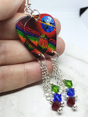 Journey Departure Guitar Pick Earrings with Swarovski Crystal Dangles