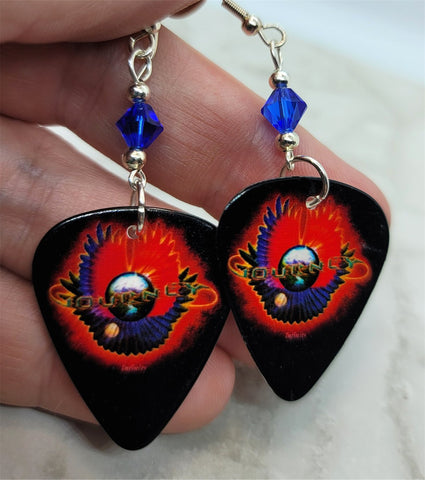 Journey Infinity Guitar Pick Earrings with Blue Swarovski Crystals
