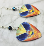 Journey Revelation Guitar Pick Earrings with Metallic Blue Swarovski Crystals
