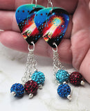 Journey Escape Guitar Pick Earrings with Pave Bead Dangles