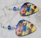 Journey Trial By Fire Guitar Pick Earrings with Blue Swarovski Crystals