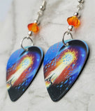 Journey Escape Guitar Pick Earrings with Fire Opal Swarovski Crystals
