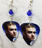 Justin Timberlake Guitar Pick Earrings with Blue Swarovski Crystals