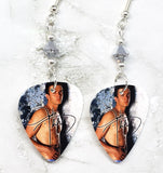 Justin Timberlake Guitar Pick Earrings with Metallic Silver Swarovski Crystals