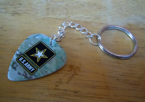 U.S. Army Star and Camo Guitar Pick Keychain