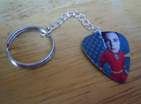 The Flash Bazinga Sheldon The Big Bang Theory Guitar Pick Keychain