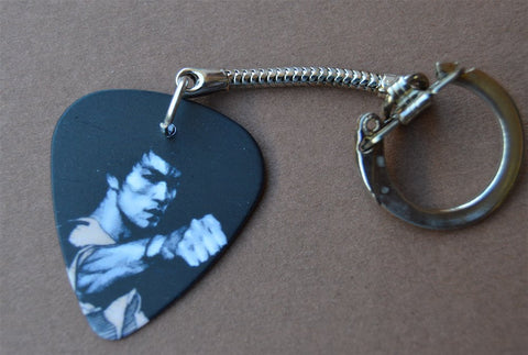 Bruce Lee Karate Punch Guitar Pick Keychain