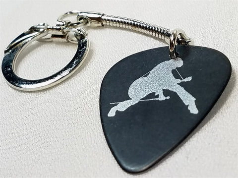 Elvis in Silver Outline Guitar Pick Keychain