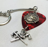 Firefighter Axes, Helmet and Shield Guitar Pick Keychain