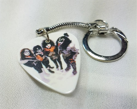 KISS In Full Makeup Guitar Pick Keychain