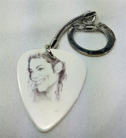Michael Jackson Drawing Guitar Pick Keychain
