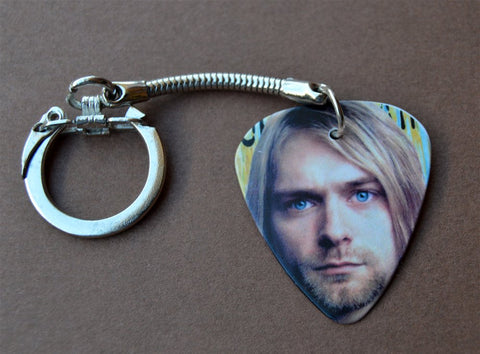 Kurt Cobain of Nirvana Guitar Pick Keychain