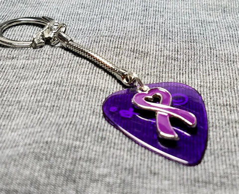 Purple Ribbon Heart Charm on Transparent Purple Guitar Pick Keychain
