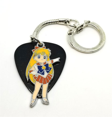 Sailor Venus Charm on Black Guitar Pick Key Chain