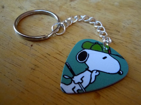 Snoopy with Baseball Cap Guitar Pick Keychain