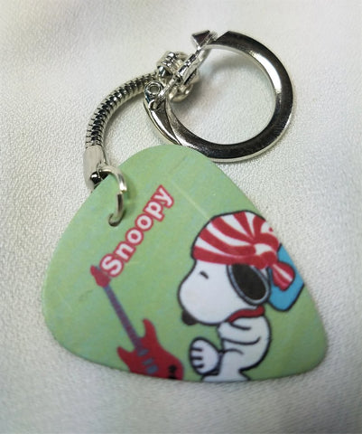 Snoopy with Guitar and Striped Hat Guitar Pick Keychain