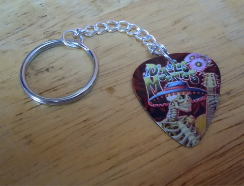 Sugar Skull with a Guitar and Sombrero Guitar Pick Keychain