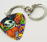 Flower Crown Sugar Skull Guitar Pick Keychain