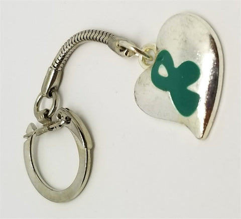 Teal Ribbon on a Silver Heart Charm Keychain