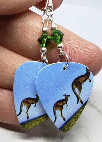Kangaroo Guitar Pick Earrings with Green Swarovski Crystals
