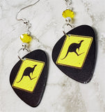 Kangaroo Crossing Guitar Pick Earrings with Yellow Swarovski Crystals