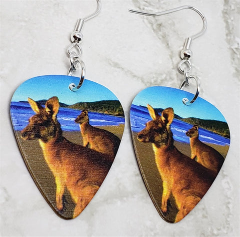 Kangaroos on the Beach Guitar Pick Earrings