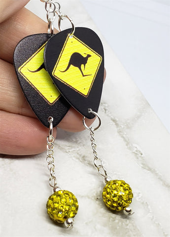 Kangaroo Crossing Guitar Pick Earrings with Yellow Pave Bead Dangles