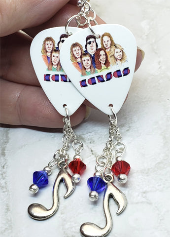 Kansas Guitar Pick Earrings with Music Note Charm and Swarovski Crystal Dangles