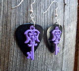 Purple Key Charm Guitar Pick Earrings - Pick Your Color