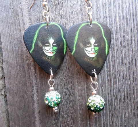 Peter Criss Kiss Guitar Pick Earrings with Ombre Pave Bead Dangles