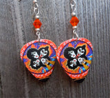 Kiss Rock and Roll Over Guitar Pick Earrings with Orange Swarovski Crystals