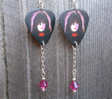 Paul Stanley Kiss Guitar Pick Earrings with Fuchsia Swarovski Crystals Dangles