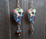 Kiss Alive Guitar Pick Earrings with MultiColor Pave Beads