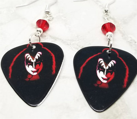 Kiss Gene Simmons Guitar Pick Earrings with Red Swarovski Crystals