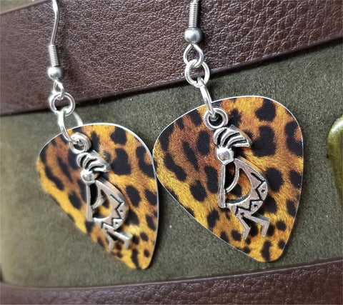 Kokopelli Charm Guitar Pick Earrings - Pick Your Color