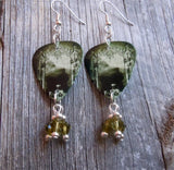 Korn Take a Look in the Mirror Guitar Pick Earrings with Green Swarovski Crystal Dangles