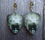 Korn Take a Look in the Mirror Guitar Pick Earrings with Green Swarovski Crystals