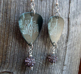 Korn Guitar Pick Earrings with Gray Pave Beads